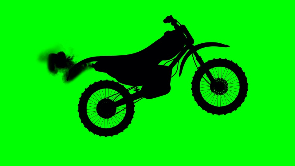 Motorbike black silhouette on a green background