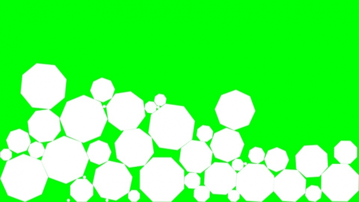 Falling Octagons on a green background