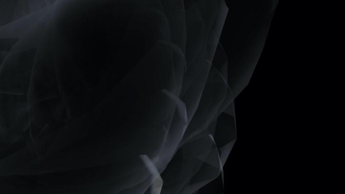 Swirling light shapes on a black background