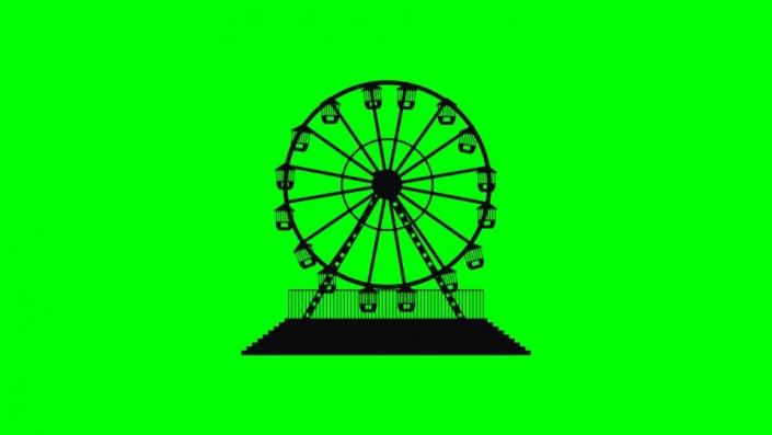 Ferris wheel black silhouette on a green background