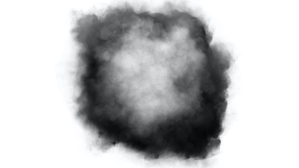 A circle shaped ball of smoke on a white background