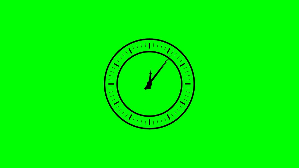 Clock black silhouette on a green background
