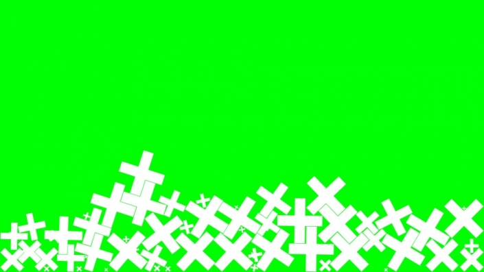 Falling Crosses on a green background