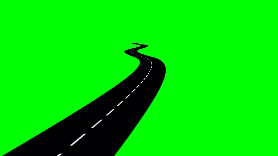 Road black silhouette on a green background