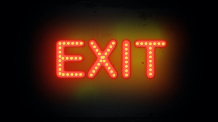 Neon Sign displaying the word Exit