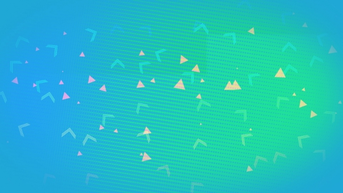 Aqua background with small light triangles dancing around