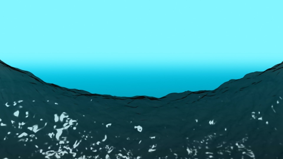 a curved surface of water on a blue background