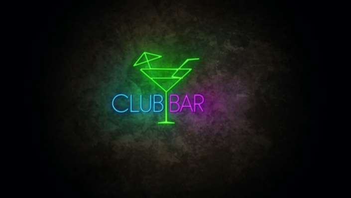 Neon Sign displaying the words Club Bar