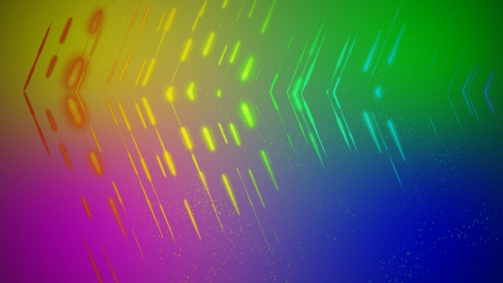 A colourful gradient with lines converging in the middle