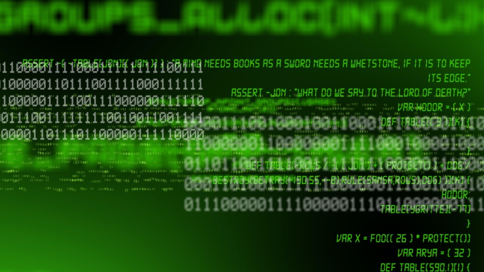 Computer text on a green background