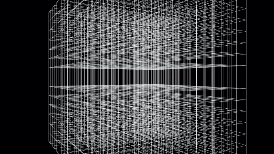 white wireframe lines on a black background