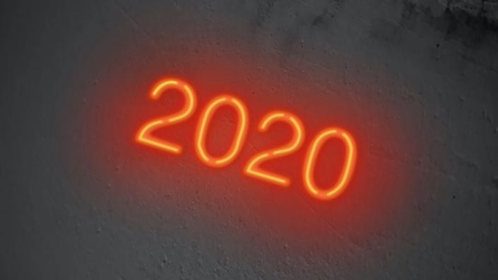 Neon sign displaying 2020