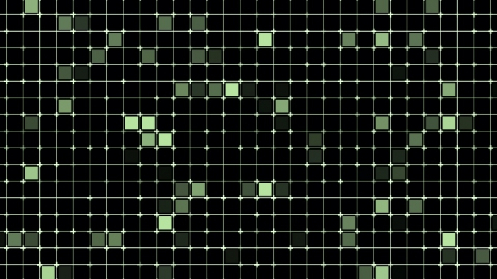 green squares flashing in a grid format