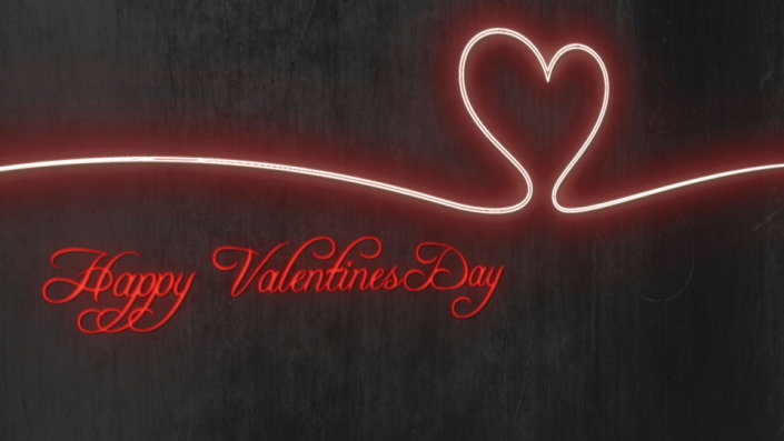 Neon Sign displaying the words Happy Valentines