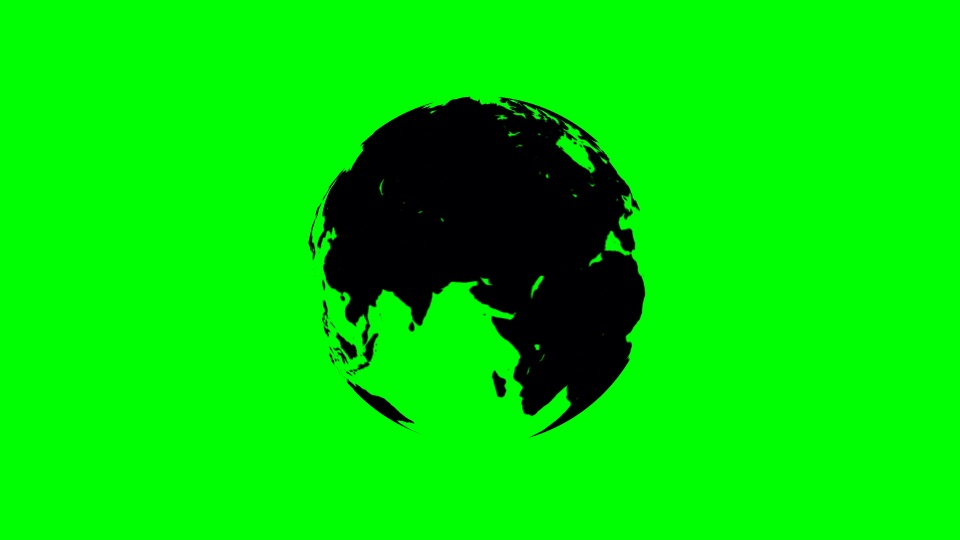 Globe black silhouette on a green background