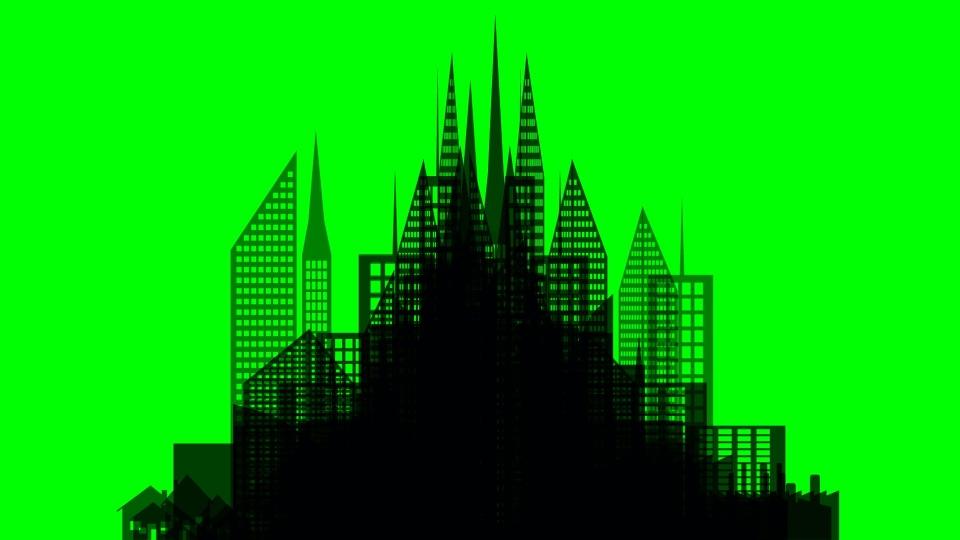 Skyscraper black silhouette on a green background