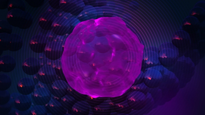 A purple distorted sphere