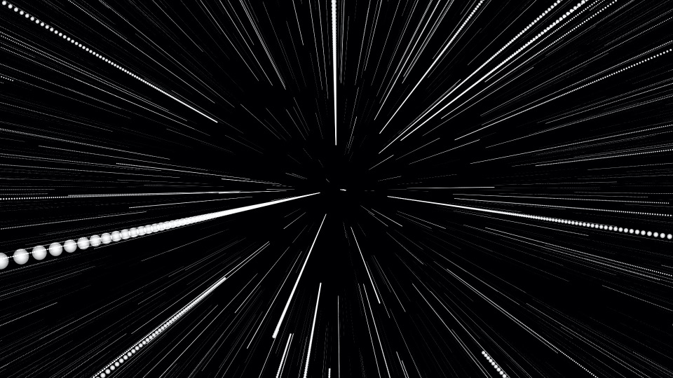 view of stars from space ship entering warp speed