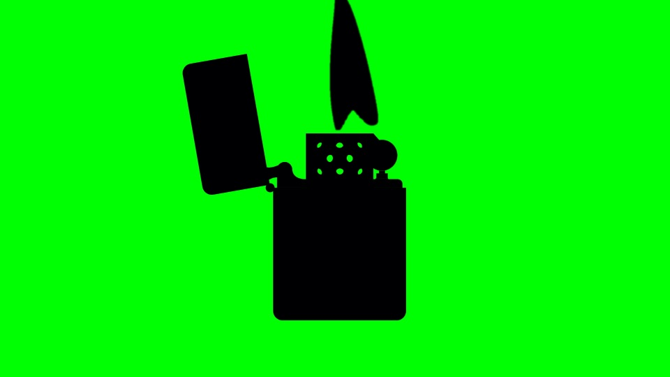 Lighter black silhouette on a green background