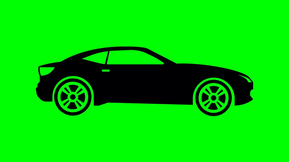 Car black silhouette on a green background