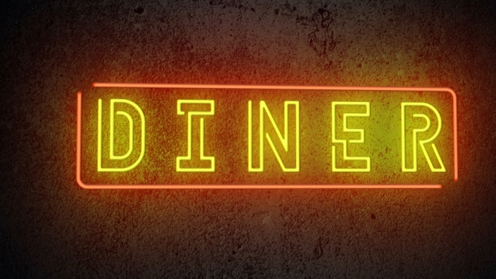 Neon Sign displaying the words The Diner