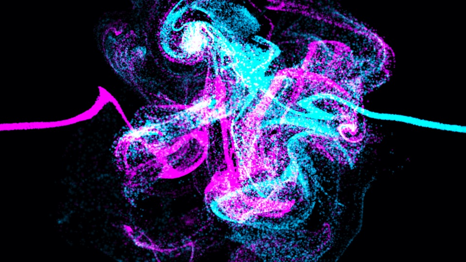 purple and blue particles colliding
