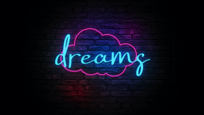 Neon Sign displaying the word dreams