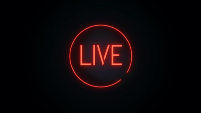 Neon Sign displaying the word Live