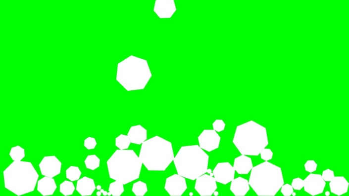 Falling Septagons on a green background