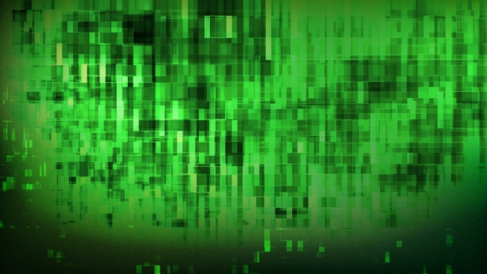 A green background with dark animated squares