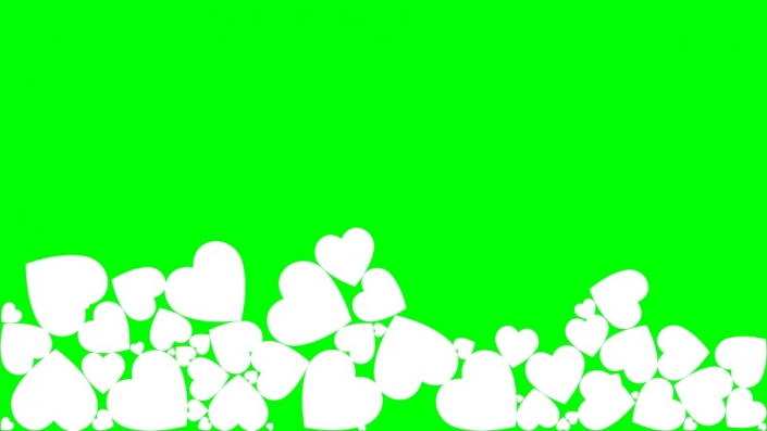 Falling Hearts on a green background