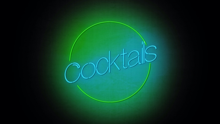 Neon Sign displaying the word Cocktails