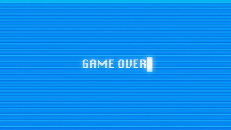 Game over text on computer screen