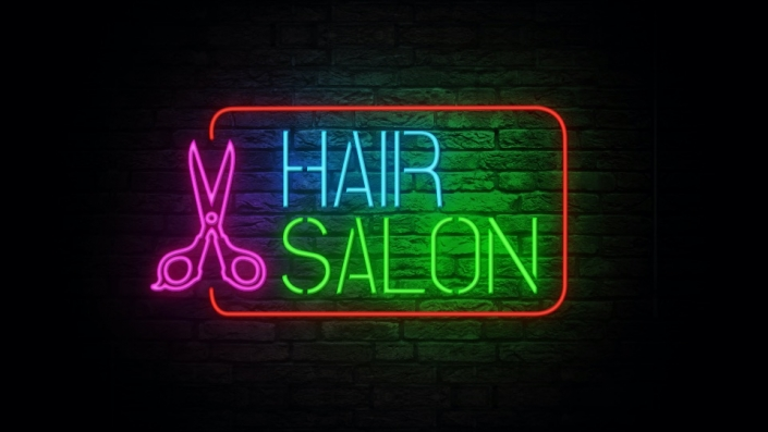 Neon Sign displaying the words Hair Salon