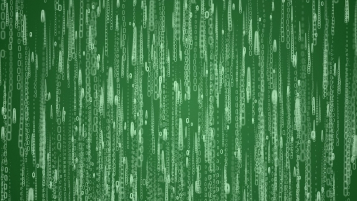 strings of zeros and ones falling on a green background