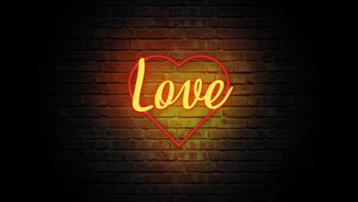 Neon Sign displaying the word Love