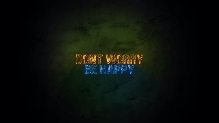 Neon Sign displaying the words Don't Worry Be Happy