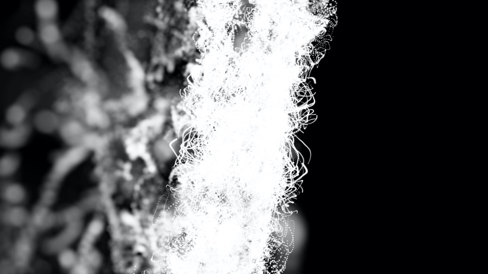 Strings of white particles