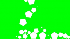 Falling Pentagons on a green background
