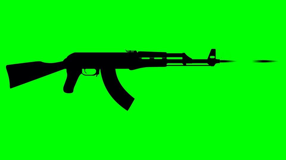 AK-47 black silhouette on a green background