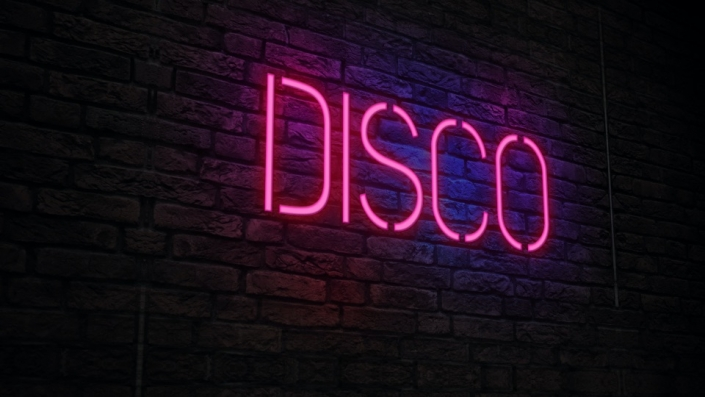 Neon Sign displaying the word Disco