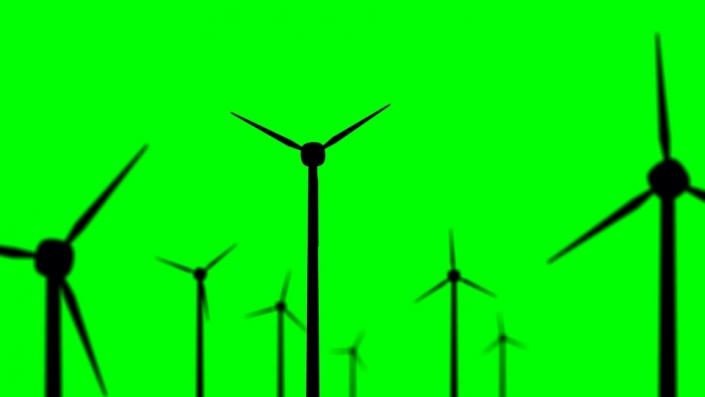 Wind Turbine black silhouette on a green background